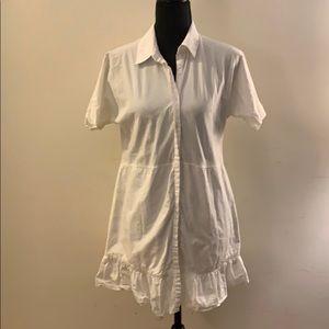 Button Up Shirt Dress w/ Ruffle Bottom